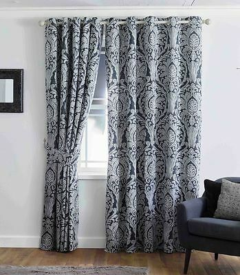 100% Egyptian Heavy Cotton Fully Lined  Curtains Eyelet Ring Top /Pencil Pleat