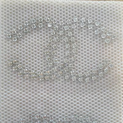 Double C Letters Rhinestones Iron on hot fix Applique Patch