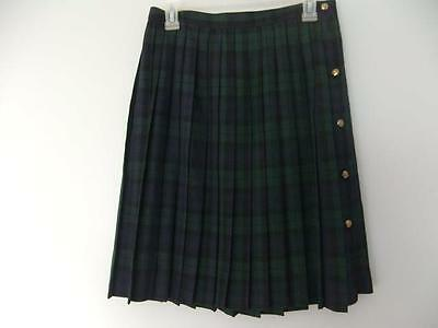 Vintage Skirt Plaid Pleated School Girl Costume Side Buttons Naughty Size 12