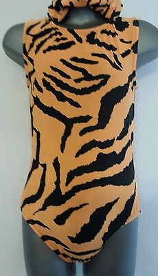 Girls 7-8 Tiger print sleeveless leotard disco/gymnastics/dance/practice