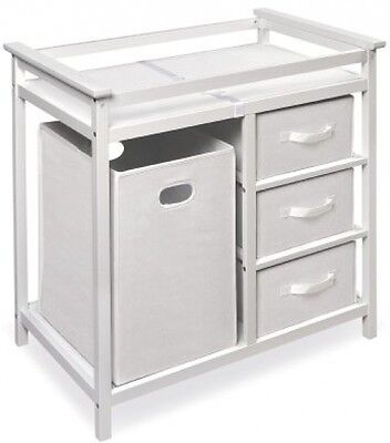 Modern Changing Table Badger Basket with 3 Baskets and Hamper Diaper White