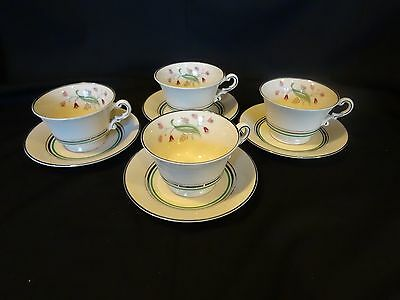 Syracuse Old Ivory China - Coralbel - Set of 4 Cup and Saucer Sets