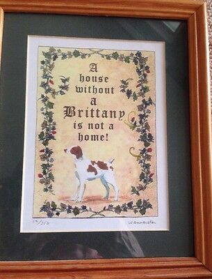 Brittany Spaniel - Numbered Print.  Numbered And Framed!  Nice!
