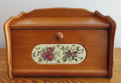 Vintage Wood Bread Box With Apples & Grapes Insert By Pomerantz