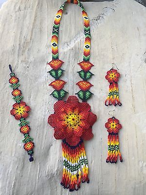 Huichol Beaded Necklace With Earnings And Bracelet Included