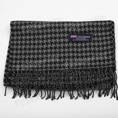 Men's 100% CASHMERE Black/White Houndstooth Scarf MADE IN SCOTLAND
