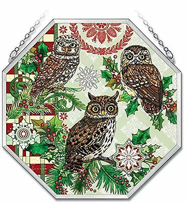 "AMIA Christmas Owl STAINED GLASS Window Panel OCTAGON 15"" Hand Painted"