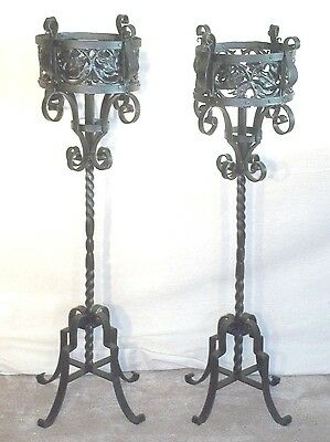 A WONDERFUL TALL PAIR OF 19th CENTURY ARTS+CRAFTS  WROUGHT IRON GOTHIC PLANTERS