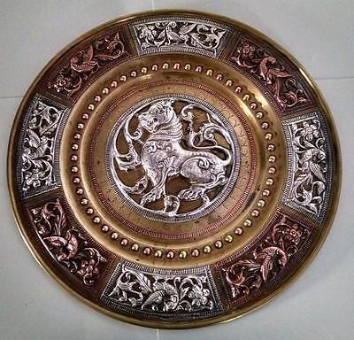 Sterling Silver Embossed Antique Ancient Birds Of Paradise Decorative Plate
