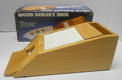 Solid WOODEN DEALERS SHOE Holds up to 4 decks Weighted card feeder NO CARDS INC.