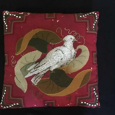 Victorian Beadwork And Tapestry Cushion