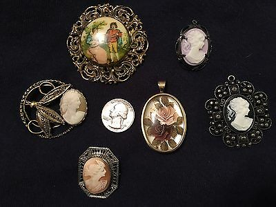 Vintage Cameos Pendants Pins Lot Carved Coro Gold Silver