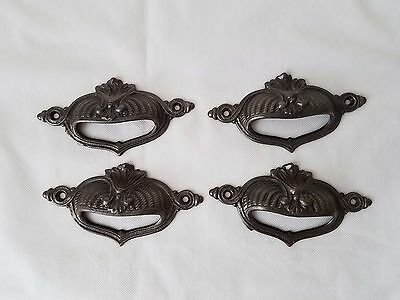 Vintage style Cast Iron Large Bin Pull Victorian Handles Drawer Pulls set of 4