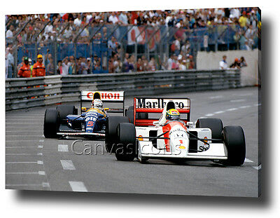 Ayrton Senna Mansell Canvas  Print Poster Photo Wall Art F1 Formula 1 Monaco