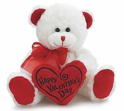 """Happy Valentine's Day Bear 8"""" Animal Plush- White with Red Message Pillow"""