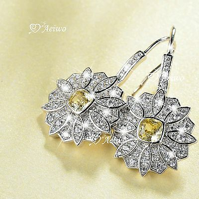 18K White Gold Gf Made With Swarovski Crystal Stud Flower Earrings