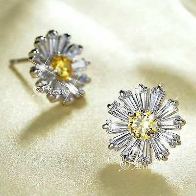 18K White Gold Gf Made With Swarovski Crystal Stud Flower Earrings 925 Silver
