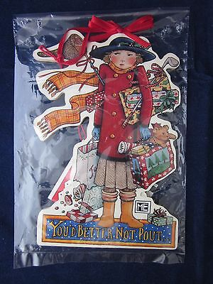MARY ENGELBREIT Wood Christmas Ornament YOU'D BETTER NOT POUT ~ NEW TAG PACKAGE