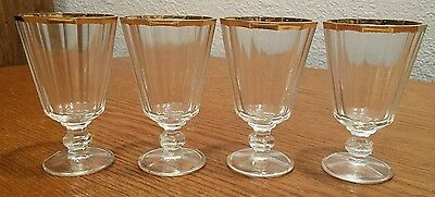 4 Mid-Century Ribbed Glass Gold Rim Footed Cordial/Mini Wine/Liquor Glasses