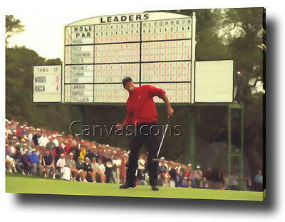 Tiger Woods Canvas Art Print Poster Photo Golf The Masters Painting Wall Art