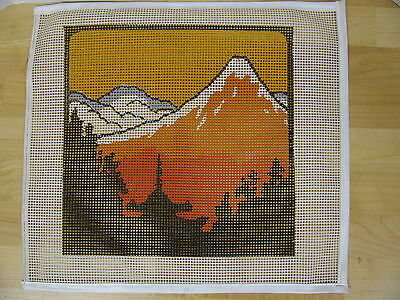 Latch Hook Rug Canvas Mountain Outdoor Scenery Trees 18x20 New