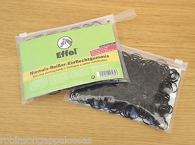 Effol, Non-snap Plaiting bands Black or clear,Tangle  free. Showing dressage