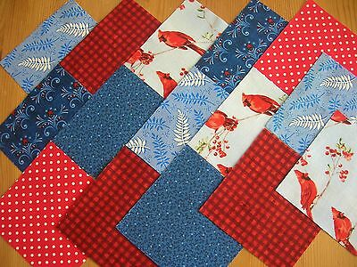 """48 x 4"""" CHARM PACK RED & BLUE 100% COTTON PATCHWORK/QUILTING/CRAFTS  RAB"""