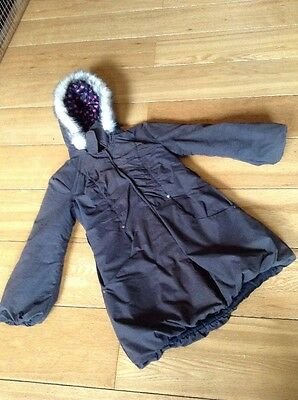 Girls Dark Green Link Length Coat With Fur Trimmed Hood Matalan 8-9 Years
