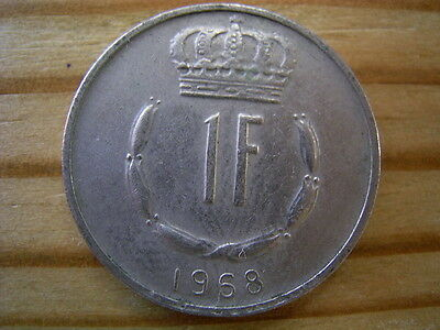 1968  Luxembourg 1 Franc Coin Collectable