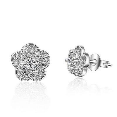 925 Sterling Silver Zircon Earrings Small Flower Ear Stud Girl Fashion Jewelry