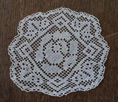 Vintage Ecru Filet Lace Doily Coaster Set of 6 Embroidered Flowers