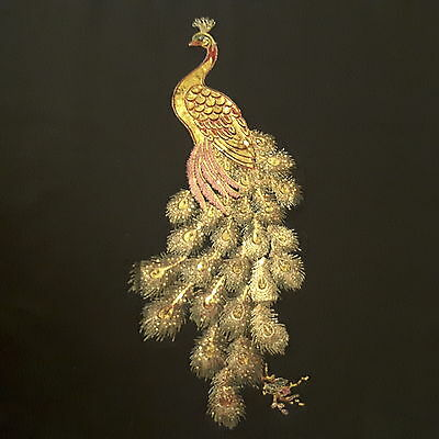 "Peacock Gold Sequin Feathers 28""/71cm Embroidery Sew-On Dress Patch Applique"