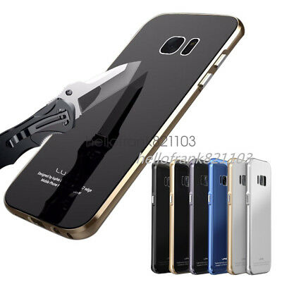 Luphie Metal Bumper Tempered Glass Back Cover Case for Samsung Galaxy S6 S7 Edge
