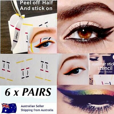 Cat Eyeliner Stencil Stick Ons Hands Free Mess Free Wing Eye Makeup 6x PAIRS