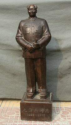 """39"""" Old Huge China Bronze Stand Mao Ze Dong Leader Chairman Revolutionist Statue"""