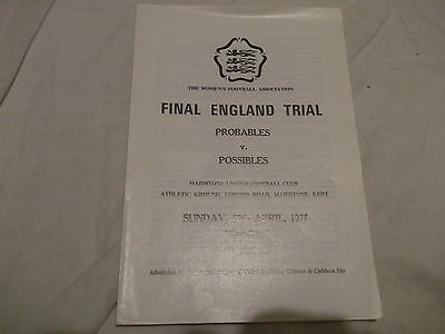 Womens Fa Final England Trial Probables V Possibles @ Maidstone United Apr 1977