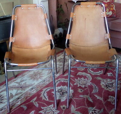 "PAIR OF CHARLOTTE PERRIAND VINTAGE ""LES ARCS"" CHAIRS. 1960s. TUBULAR CHROME."