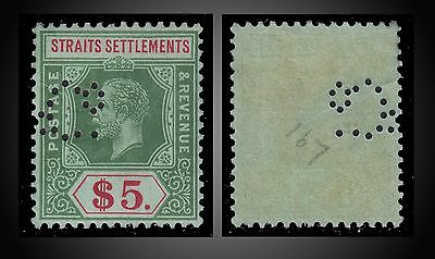 1915 Straits Settlements King George V Value 5$ Green &red Perfin Nh Or Very Lh