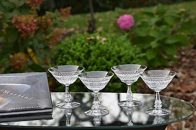 STUNNING Vintage CRYSTAL Champagne Cocktail Coupe Martini Glasses, Set of 4