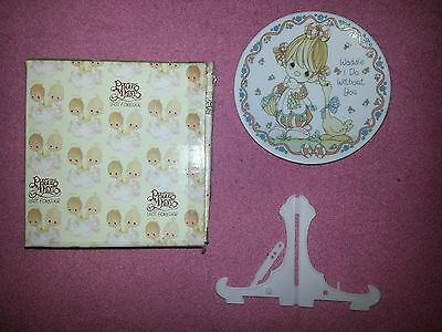 """1992 Precious Moments 4"""" Plate & Easel Waddle I Do Without You #248479/L  NIB"""