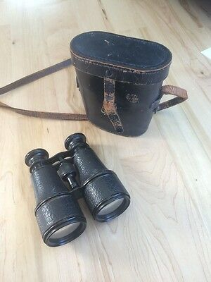 WW2 Vintage Binoculars Riesse Militaire Paris 27965 with Leather Case WWII