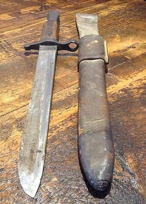 WWI U.S. Army ROSS Rifle Bayonet, w/ Original Scabbard, 1910, Made in QUEBEC