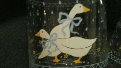 Vintage 1987 Anchor Hocking  FARM COUNTRY GEESE  Glass Jar Canister