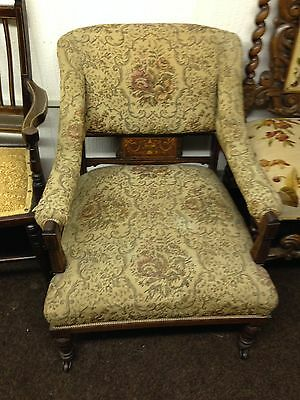 "Antique Chair. Mahogany Upholstered Inlaid. 30""wx30""h. Old. Quality. Shabby Chic"