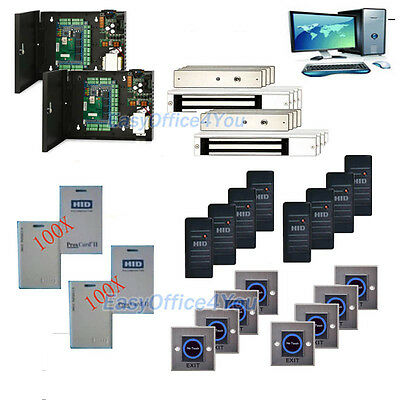 8 Doors HID ProxCard Access Control 600LBS Maglock Key Card System 1326LSSMV Kit