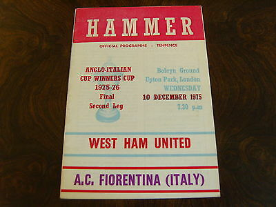 1975/76  WEST HAM v A.C FIORENTINA  ANGLO ITALIAN CUP FINAL 2nd LEG  10/12/75 mh