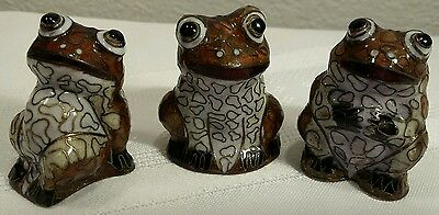 3 Matching Cloisonne Frogs/Toads Figures EXCELLENT CONDITION!