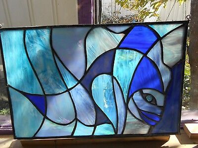 Stained Glass Window Panel Blue Fish