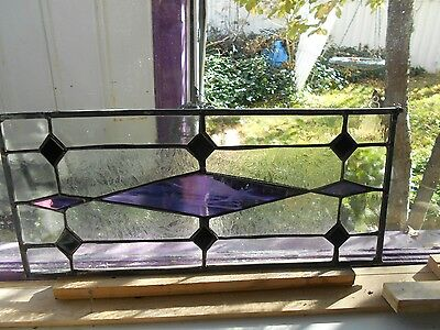 Stained Glass Window Panel Suncatcher   Iridescent Purple Diamonds