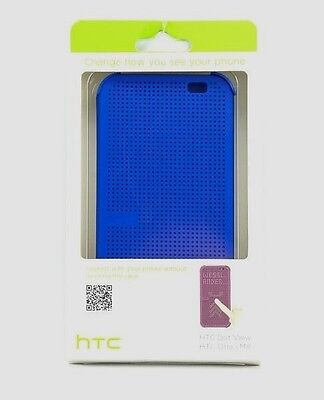 NEW HTC Dot View - Premium Case Cover for HTC One M8 - Blue - Free Shipping